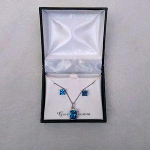 Blue Topaz Genuine Gemstone Set